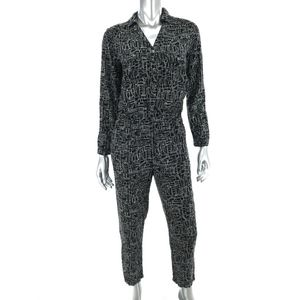 Lilka XS Jumpsuit Black White Dotted Print Button